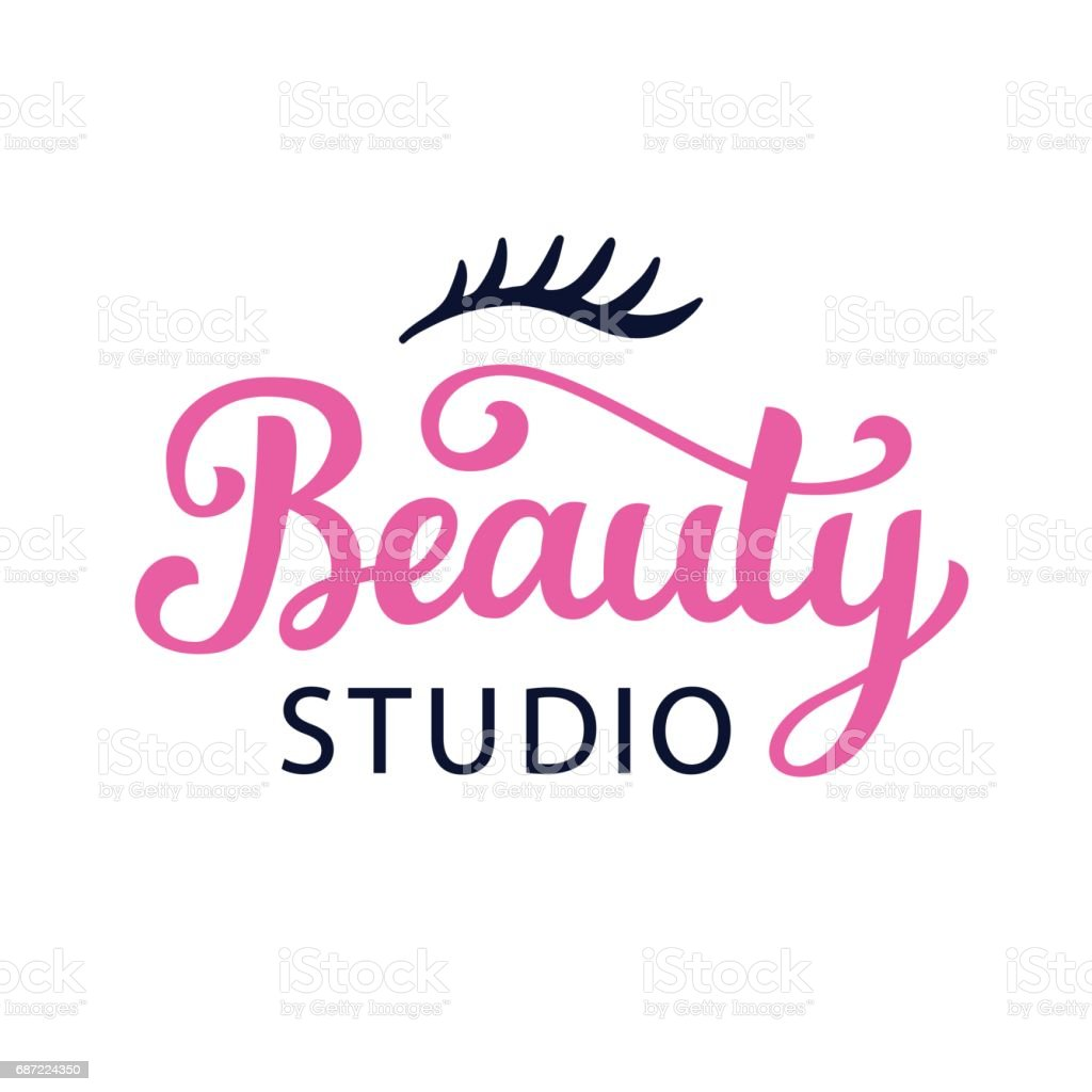 Beauty salon, cosmetic vector icon with hand lettering vector art illustration