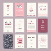 Cosmetics shop business cards, beauty parlor invitations, nail salon flyer, spa banner. Artistic templates collection with thin line symbols and hand drawn design elements. Isolated vector.