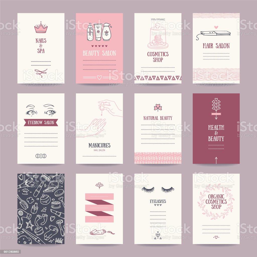 Salón de belleza, tienda de cosméticos, Maquillaje artista tarjeta de visita - ilustración de arte vectorial