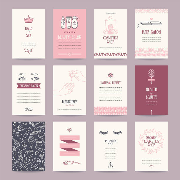 Beauty Salon, Cosmetics Shop, Makeup Artist Business Card Cosmetics shop business cards, beauty parlor invitations, nail salon flyer, spa banner. Artistic templates collection with thin line symbols and hand drawn design elements. Isolated vector. bathroom patterns stock illustrations
