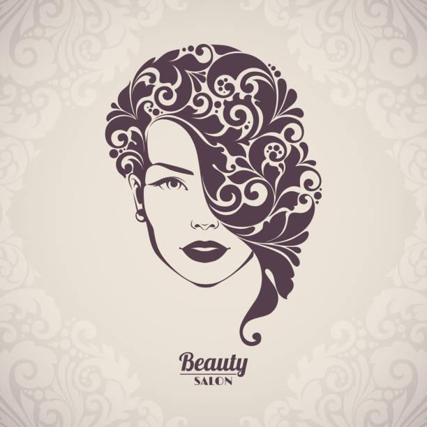 Beauty salon, cosmetics, spa logo. Beautiful elegant woman silhouette with ornamental hair. Beauty salon, cosmetics, spa logo. Beautiful elegant woman silhouette with ornamental hair mistery stock illustrations
