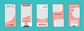 Beauty salon editable templates set for Instagram stories. Wellness center special offer, spa procedures. Trendy design for social networks. Insta story mockup with free copy space vector illustration