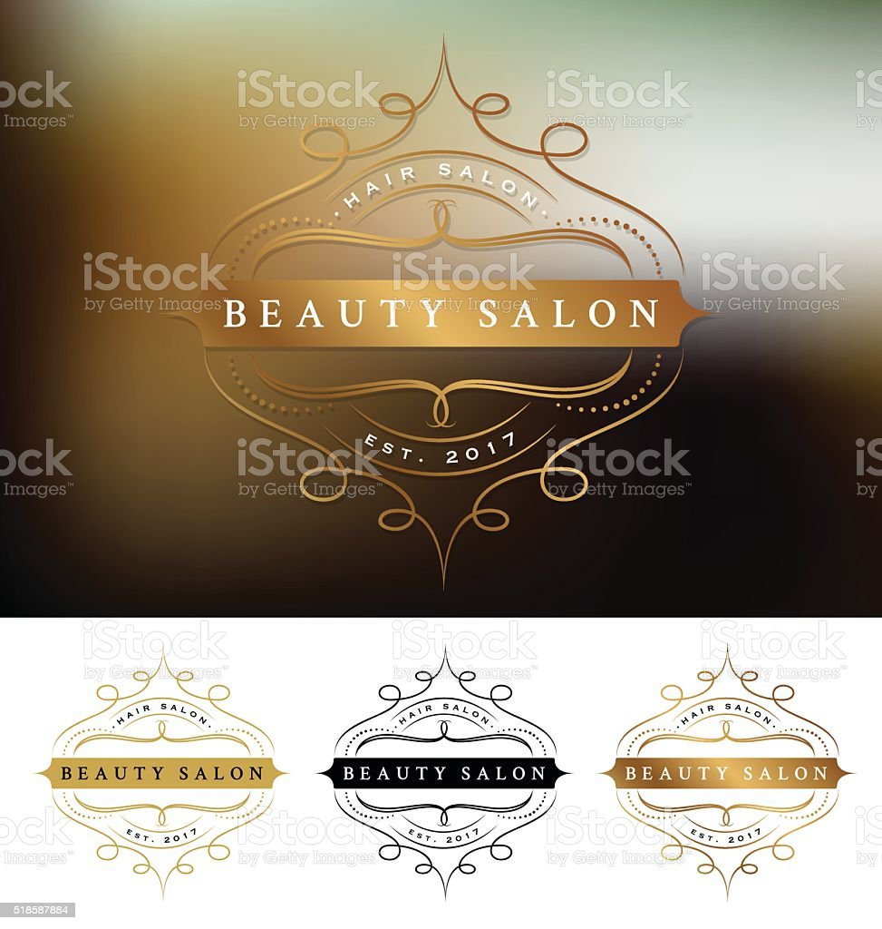 Beauty salon frame logo design with flourishes line vector art illustration