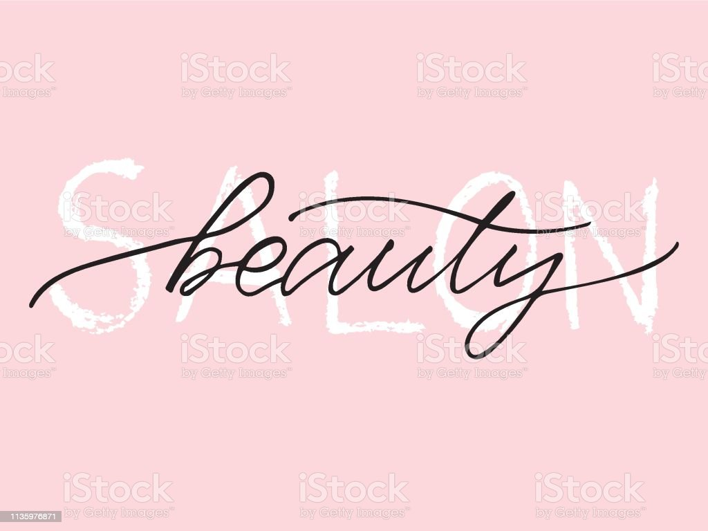 Beauty Salon Hand Lettering Logo On Pink Background Design Print For Sticker Banner Poster Magazines Beauty Shop Beauty Saloon Vector Illustration Stock Illustration Download Image Now Istock