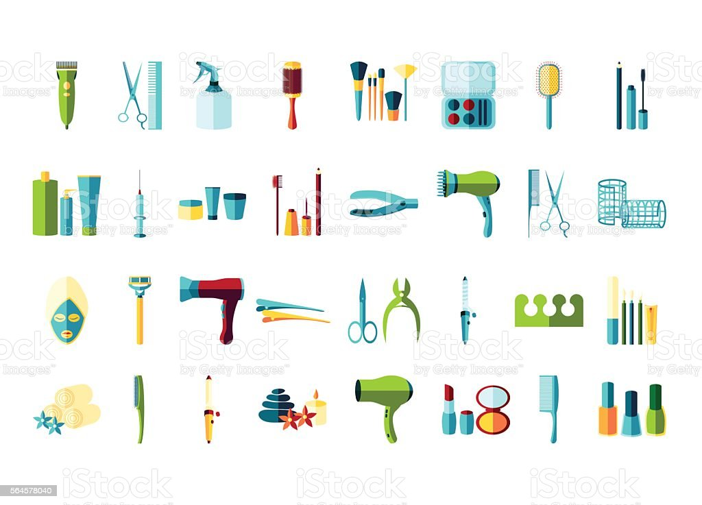 beauty salon icon set vector art illustration