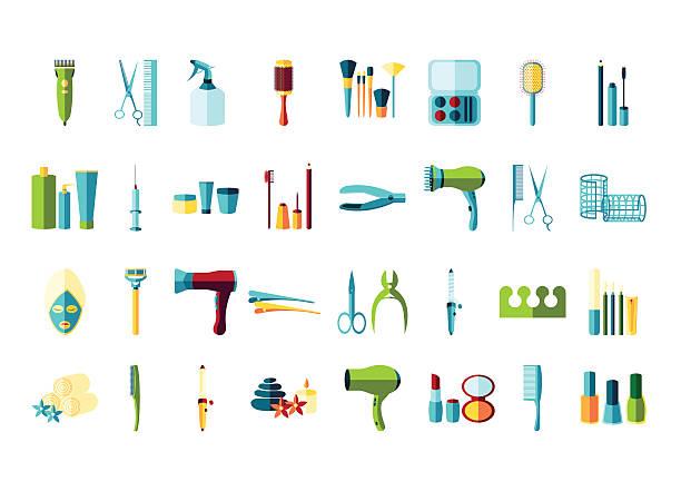 schönheit salon symbol-set - fußpflegeprodukte stock-grafiken, -clipart, -cartoons und -symbole