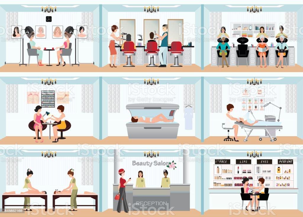 Beauty salon info afbeelding van mensen in spa en diverse schoonheid procedures. - Royalty-free Bar - tapkast vectorkunst