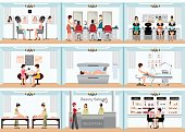 Beauty salon info graphic of people in spa and various beauty procedures.