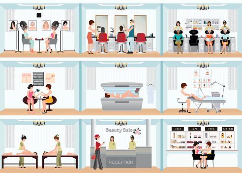 Beauty Salon Info Afbeelding Van Mensen In Spa En Diverse Schoonheid Procedures Stockvectorkunst en meer beelden van Bar - tapkast