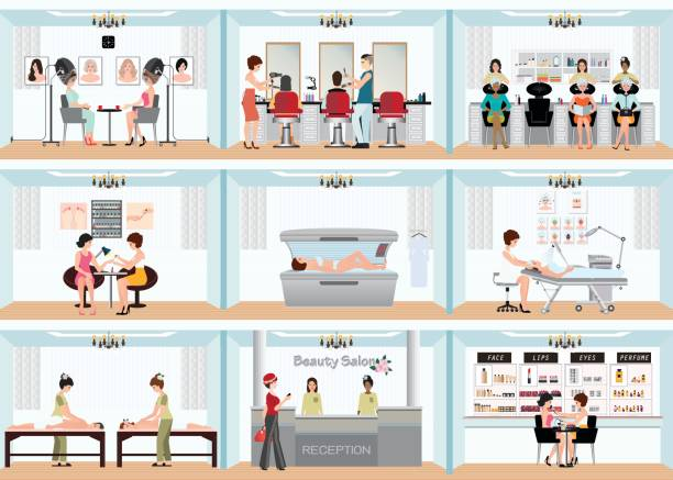 beauty salon info graphic of people in spa and various beauty procedures. - beauty salon stock illustrations, clip art, cartoons, & icons
