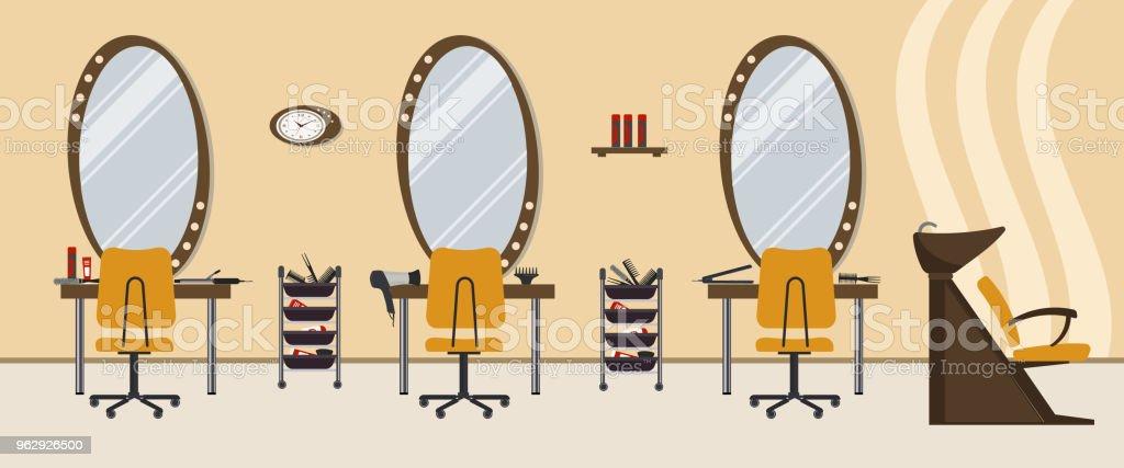 Ilustracion De Salon De Belleza Interior De Un Salon De Peluqueria