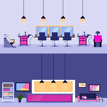 Beauty salon interior, vector flat illustration. Reception desk and barber workplace design elements