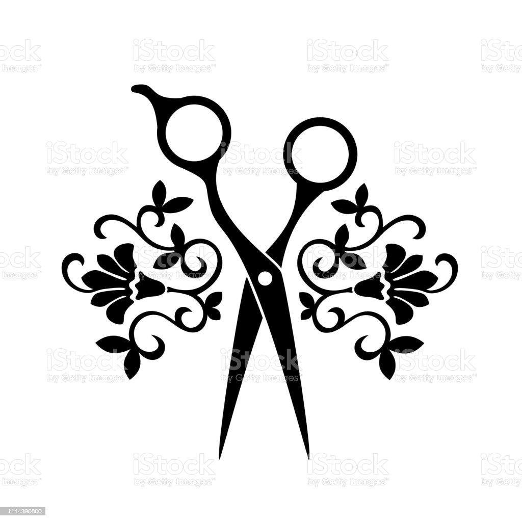 Beauty Salon-Logo, Barbershop-Logotyp. Schwarze Schere auf weißem Hintergrund. Friseur Ikone. - Lizenzfrei Abstrakt Vektorgrafik