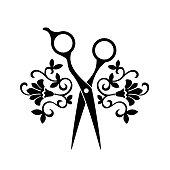 Beauty salon logo, barbershop logotype. Black isolated scissors on white background. Hairdreseser icon.