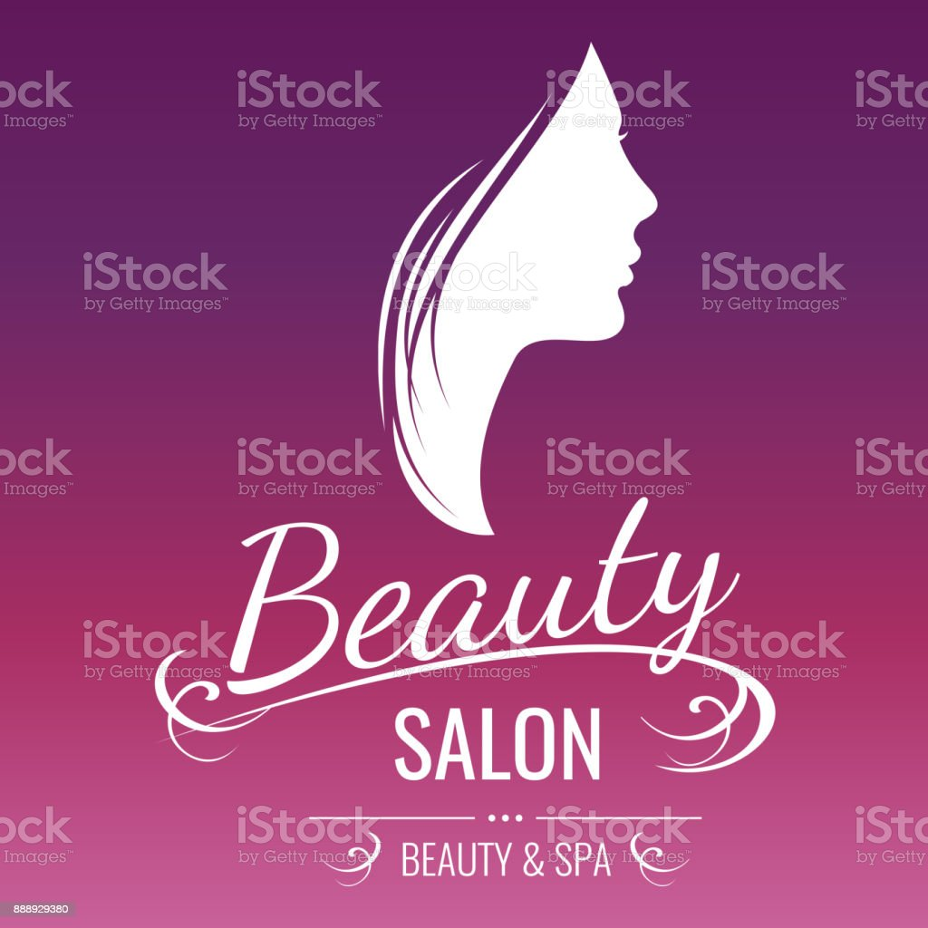 Beauty Salon Logo Design With Woman Silhouette On Pink Background Stock Illustration Download Image Now Istock