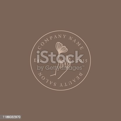 Beauty salon Logo hand holding a Ginkgo leaf In trendy linear minimalist style. Vector Round Emblem Beauty Studio. Template manicure, Spa, massage salons and hairdressers.