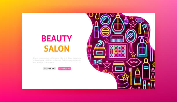 beauty salon neon landing page - neonlidschatten stock-grafiken, -clipart, -cartoons und -symbole