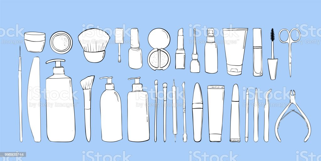 beauty salon objects. Cosmetic products. makeup shop. Elements or...