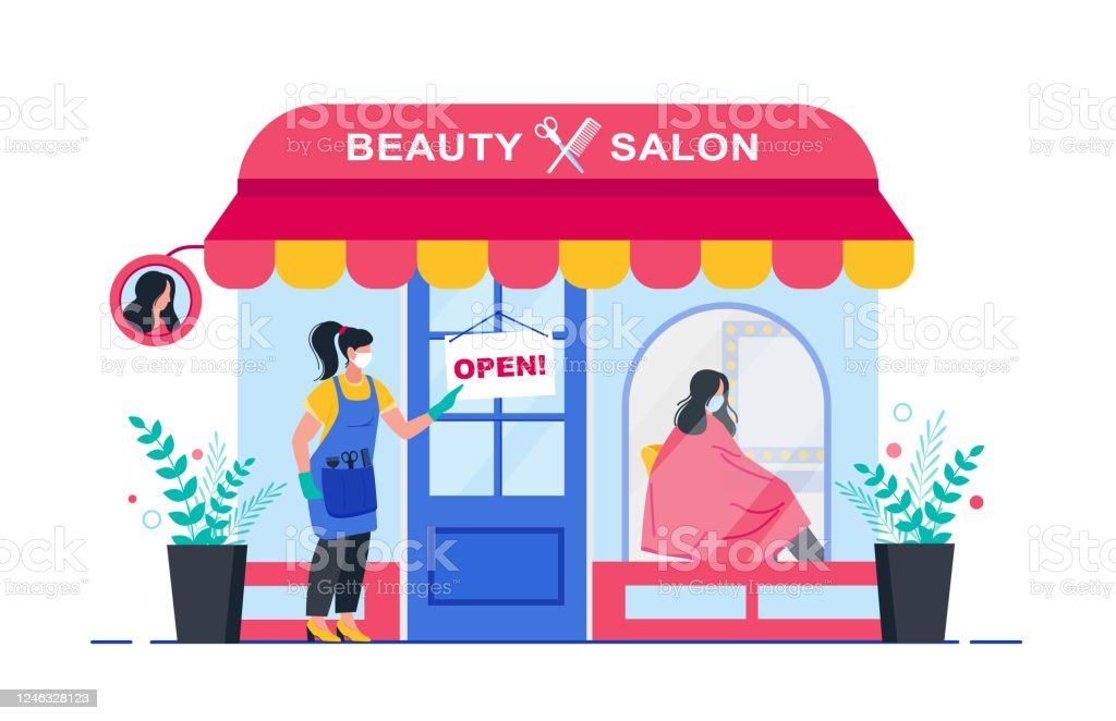 Beauty Salon Opening After Quarantine Woman Or Hairdresser Opens A Hair Salon After Quarantine Banner For A Beauty Salon Stock Illustration Download Image Now Istock
