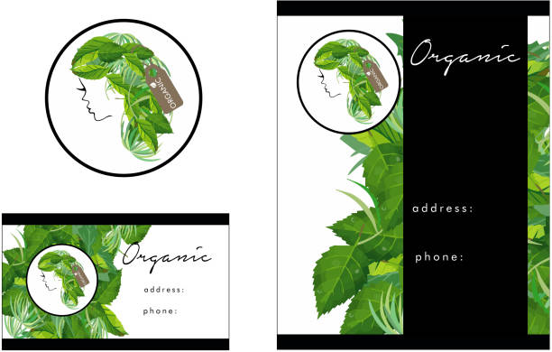 Beauty Salon Organic Logo, Business Card Design and Flyer Design vector art illustration