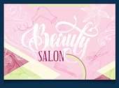 beauty salon poster with hand-drawing text and elements
