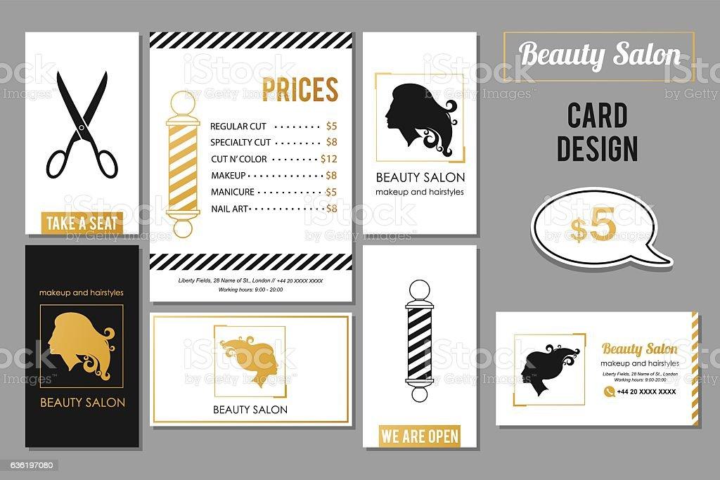 Beauty Salon Services Cards Design Vector Golden Card ...