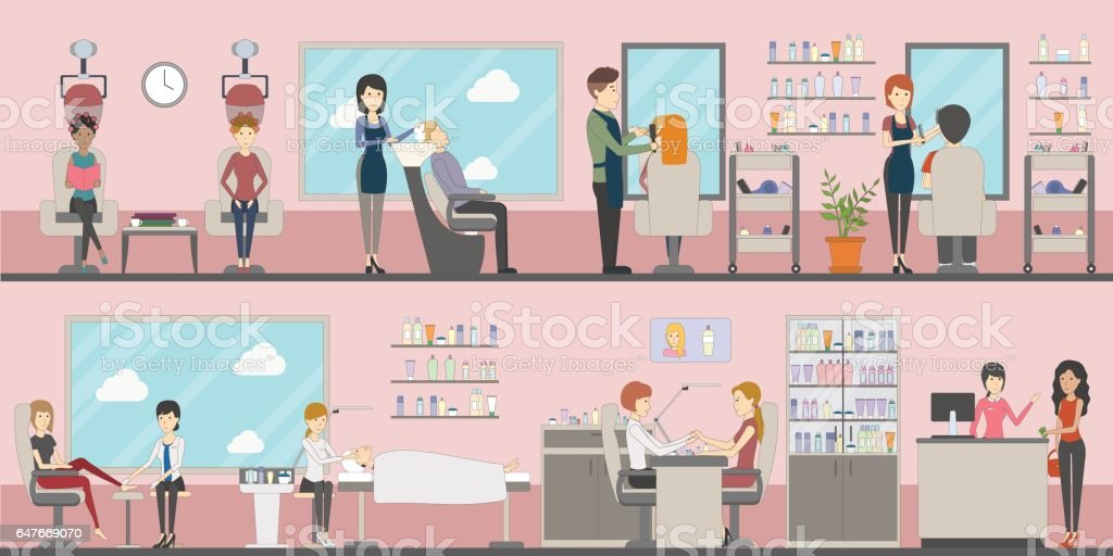 Beauty salon set. vector art illustration