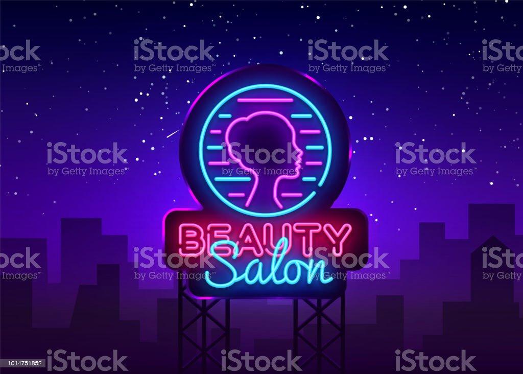 Beauty Salon Sign Vector Design Template Beauty Salon Neon Logo Light Banner Design Element Colorful Modern Design Trend Night Bright Advertising Bright Sign Vector Illustration Billboard Stock Illustration Download Image Now