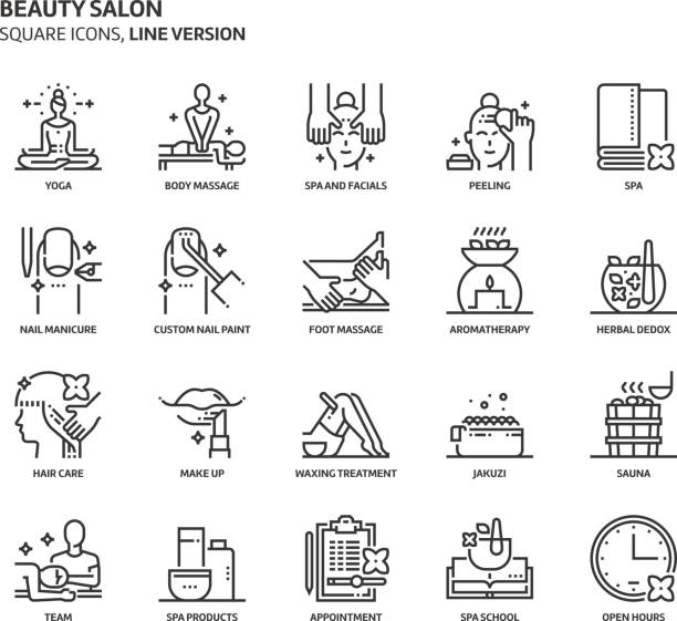 beauty salon, square icon set - massage stock illustrations