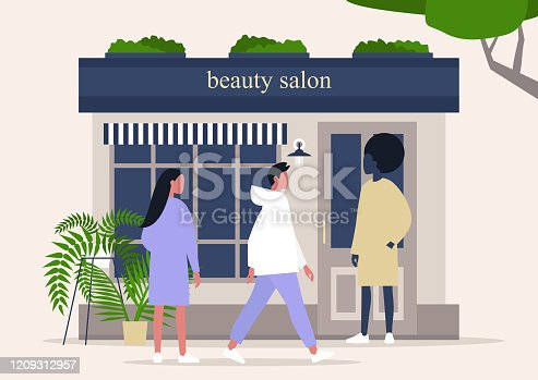 Beauty salon storefront, hairdresser studio exterior, characters standing and walking nearby