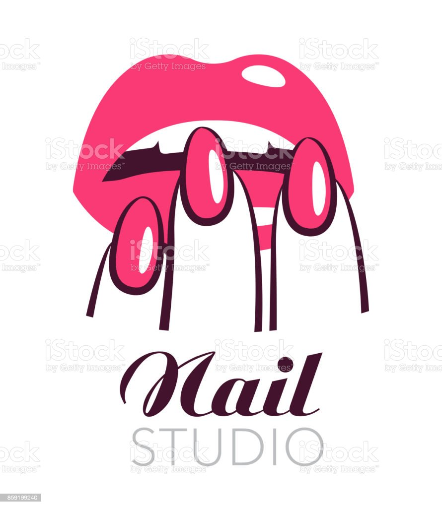 Nail Art Vector: Beauty Salon Symbol Lips And Nails Vector Label Stock