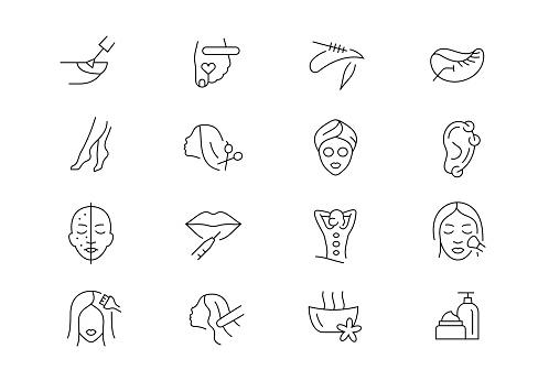 Beauty salon thin line vector icons. Editable stroke