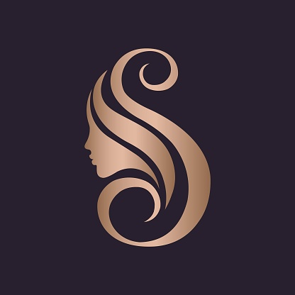Beauty salon typographic icon.Letter S and beautiful woman portrait.Decorative rose gold icon.