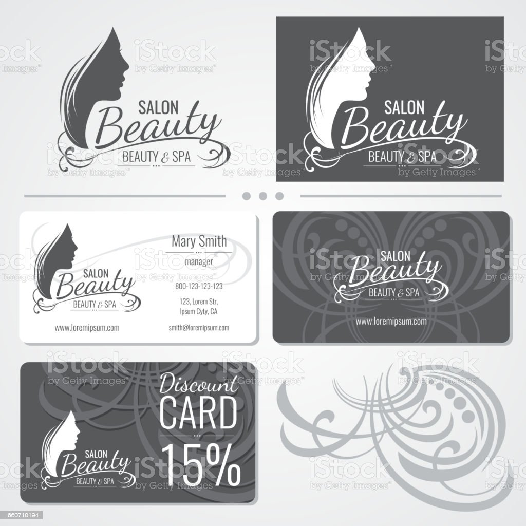 Beauty salon vector business card templates with beautiful woman beauty salon vector business card templates with beautiful woman face silhouette logo royalty free beauty cheaphphosting Images