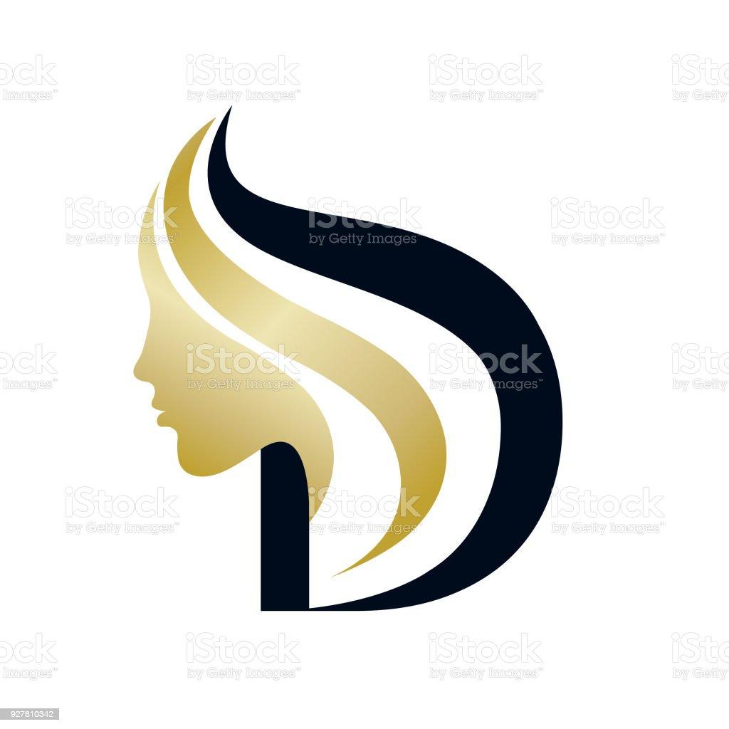 Icono de vector de salón de belleza. Silueta de cara de mujer y la letra D. - ilustración de arte vectorial