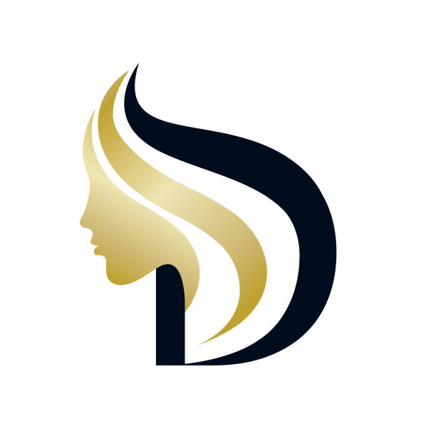 Beauty salon vector icon.Woman face silhouette and capital letter D. Cosmetics and beauty typography symbol.Letter icon and beautiful woman golden face. beauty salon stock illustrations
