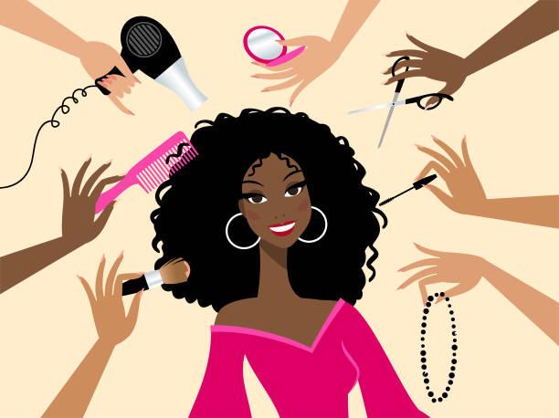 ilustraciones, imágenes clip art, dibujos animados e iconos de stock de salón de belleza - cabello negro
