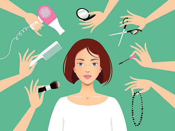 bildbanksillustrationer, clip art samt tecknat material och ikoner med beauty salon - makeup artist