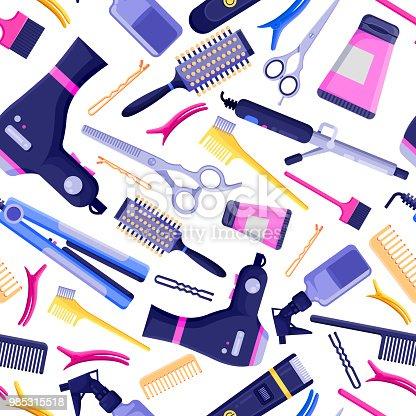 beauty salon vector seamless pattern colorful hair