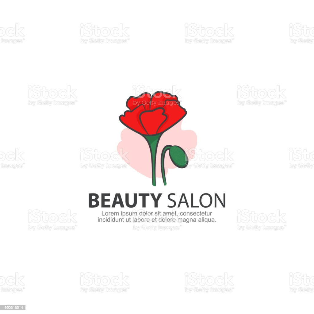 beauty salon with poppy flower icon template stock vector art more