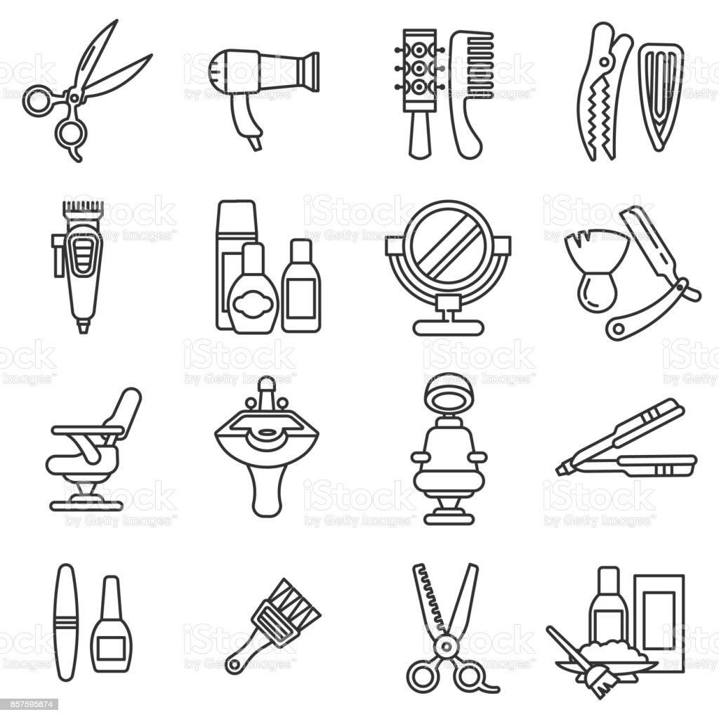 conjunto de ícones de salão de beleza. - ilustração de arte em vetor