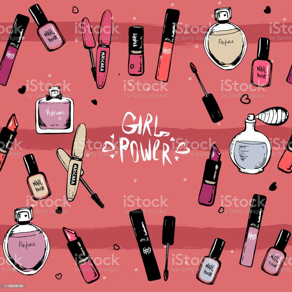 Beauty seamless pattern. nail polish, lipstick, mascara, perfume....