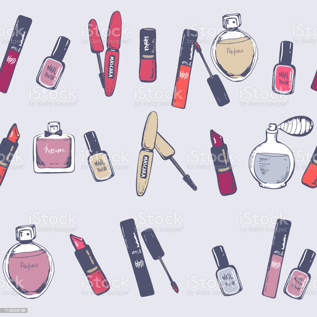 Beauty seamless pattern. nail polish, lipstick, mascara, perfume....