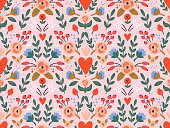 istock Beauty seamless roses and hearts pattern 1192930040