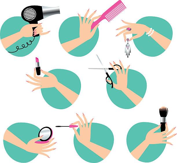 bildbanksillustrationer, clip art samt tecknat material och ikoner med beauty service - makeup artist