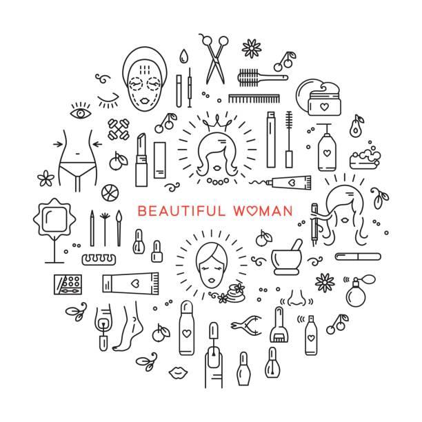 schönheit der natur-vektor-icons set-linie kunst schöne frau kosmetische wellness - fußpflegeprodukte stock-grafiken, -clipart, -cartoons und -symbole