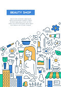 Beauty Shop - line design brochure poster template A4