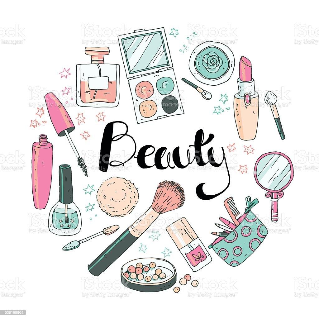 Beauty sketch background. Hand drawn doodle vector round illustr vector art illustration