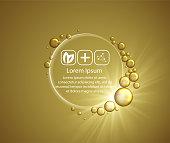 Beauty skin care design over golden backdrop. Vector illustration.Shining golden essence droplet.Bubbles oil Serum Skin Care Cosmetic.Collagen Sollution.