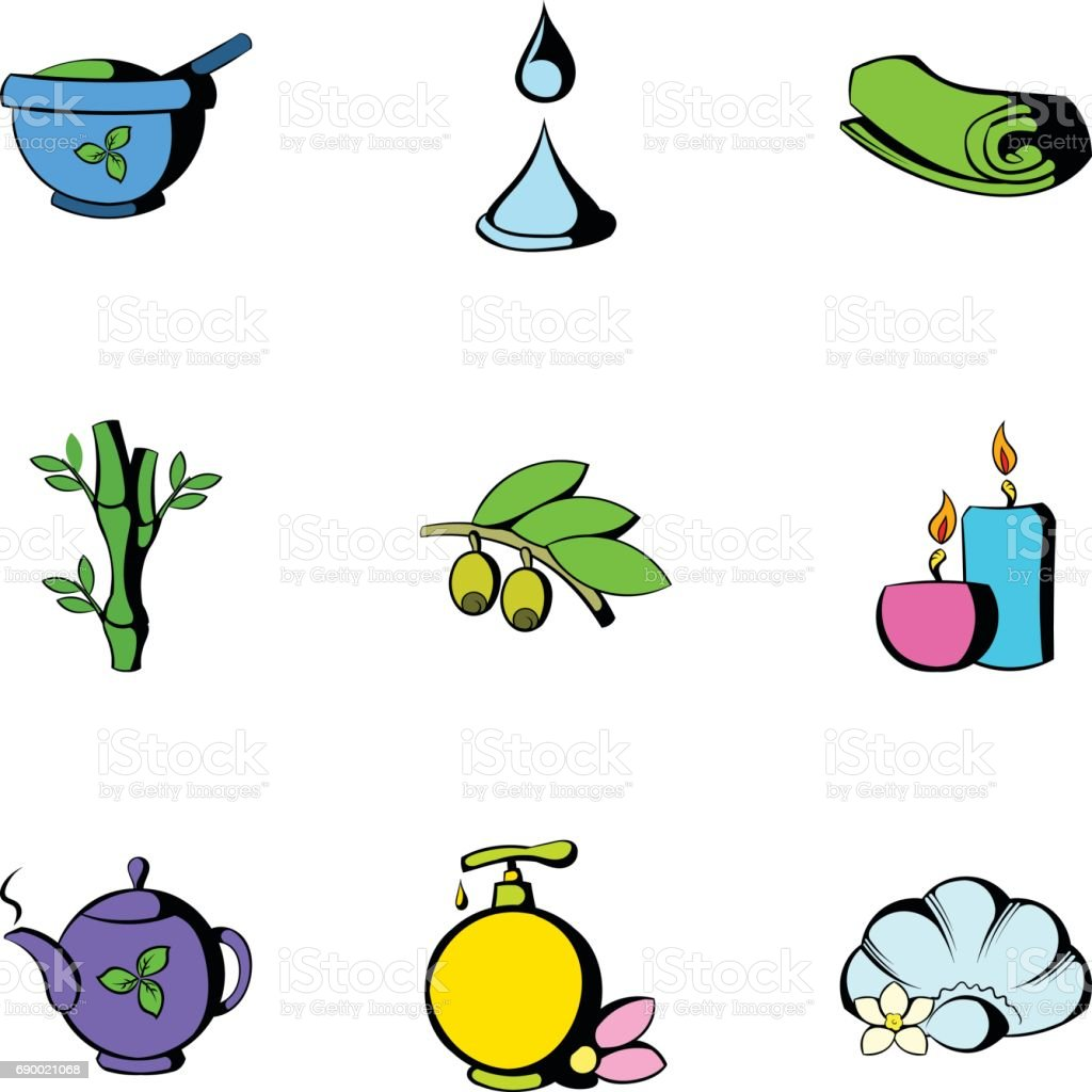 Beauty spa icons set, cartoon style vector art illustration